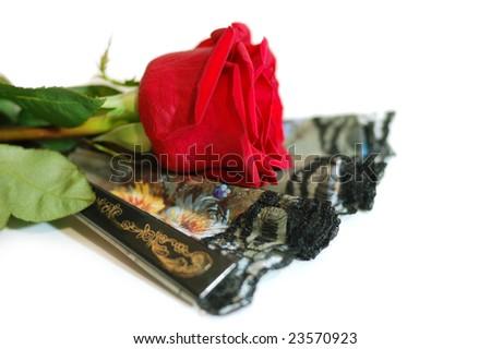 Dark flamenco fan and rose - stock photo