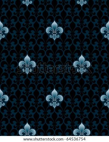dark fleur-de-lis seamless pattern (tileable background) - stock photo