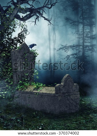 Dark forest with an old tomb, green vines, and a raven