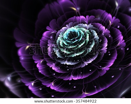 Dark fractal flower, digital artwork for creative graphic design