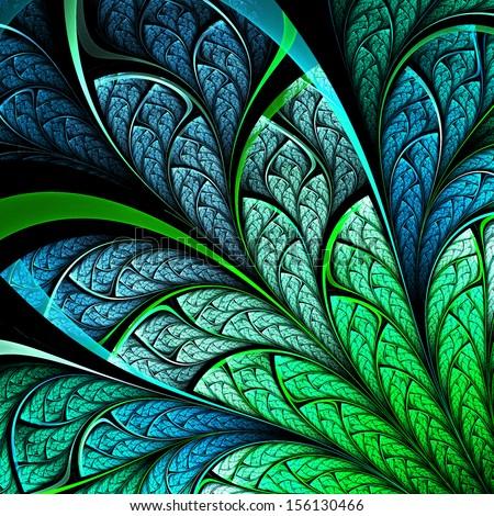 Dark fractal plant, digital artwork for creative graphic design - stock photo