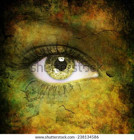 Dark futuristic face - stock photo