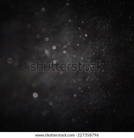 dark glitter vintage lights background. silver and black. defocused.  - stock photo