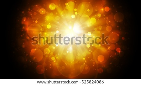 Dark Gold sparkle rays lights with bokeh elegant abstract holiday background. Dust sparks in explosion background.