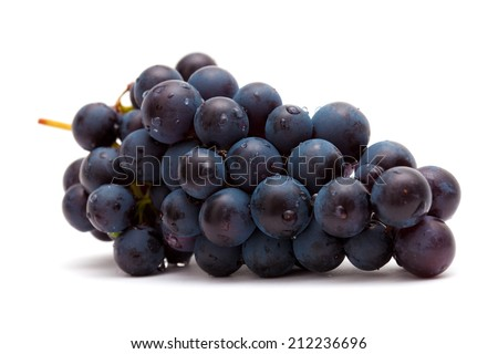 dark grapes isolated on white - stock photo