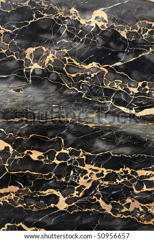 Dark gray and black marble with golden veins fill frame - stock photo
