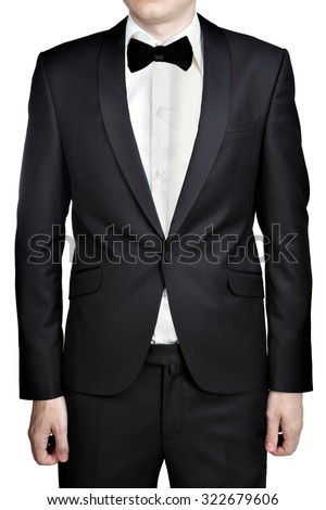 Dark gray evening dress for men, blazer, white shirt, bow tie, isolated over white background. - stock photo