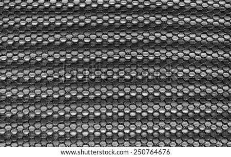 Dark gray fishnet cloth material fragment as a texture background