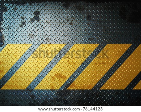 Dark Gray Grunge steel floor plate paint with yellow line - stock photo