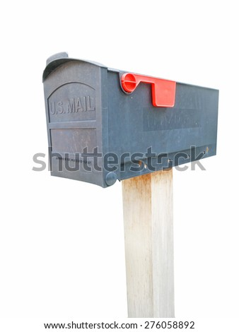 Dark Gray Plastic Mailbox Isolated on White Background with Clipping Path - stock photo