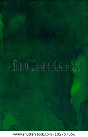 Dark Green Abstract Painted Background. Watercolor illustration. - stock photo