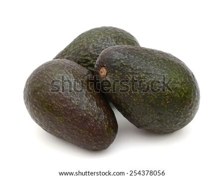 dark green avocados isolated on white - stock photo