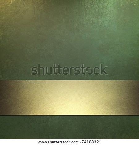 dark green background with old grunge texture and soft golden highlight, bright gold ribbon accent stripe, elegant design layout, and copy space - stock photo