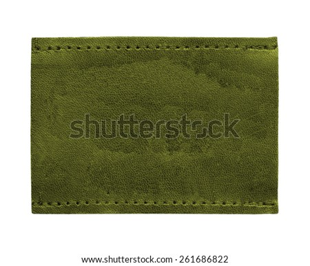 dark green blank leather jeans label isolated on white background - stock photo
