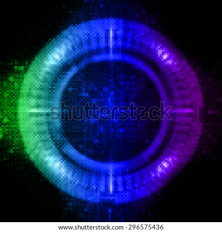dark green blue purple circle illustration of technology internet network computer background with binary number, style background. infographics. Information. ray. pixel. - stock photo