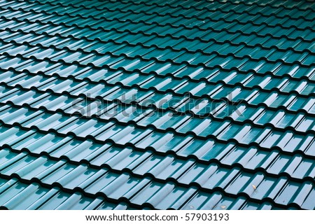 Dark green color roof tile - stock photo