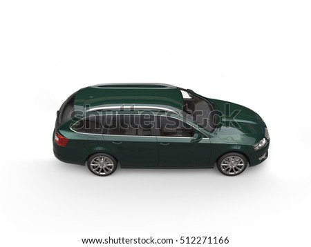 Dark green family car - top side view - 3D Illustration