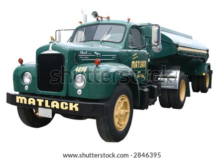 dark green front view of a fuel tanker truck and trailer, isolated on white - stock photo