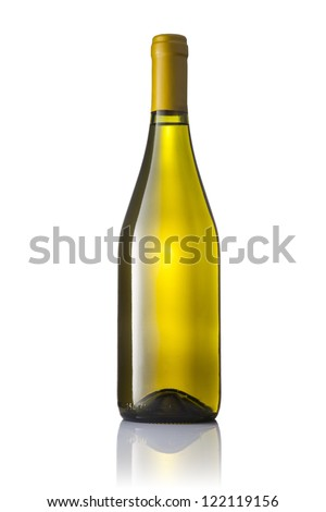 Dark green glass bottle with white wine isolated on a white background.
