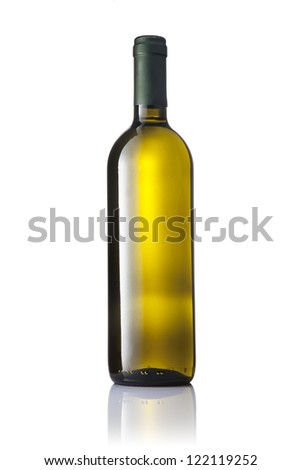 Dark green glass bottle with white wine isolated on a white background. - stock photo