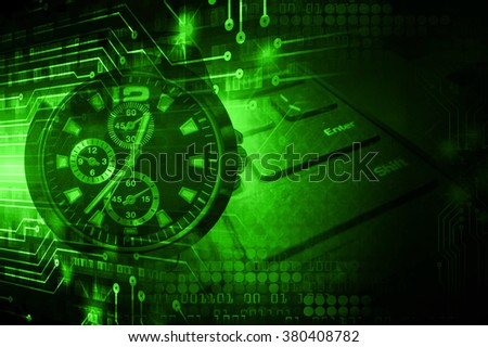dark green illustration of technology internet network computer background with binary number, style. infographics. Information. motion blur. pixel. Binary digit. number. Odometer,clock, watch