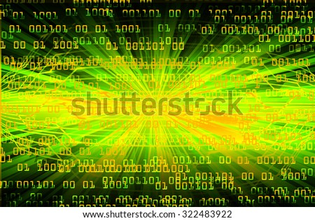 dark green orange illustration of technology internet network computer background with binary number, style background. infographics. Information. motion blur. pixel. Binary digit - stock photo