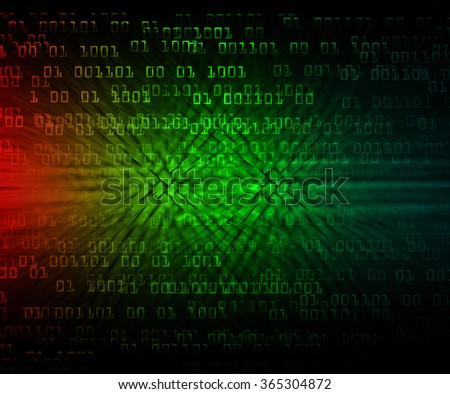 Dark green red Light Abstract Technology background for computer graphic website internet and business. circuit. illustration. infographics. motion move blur.neon. pixel. Binary digit. PC - stock photo
