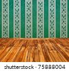 dark green vintage interior with wooden floor with artistic shadows added - stock photo