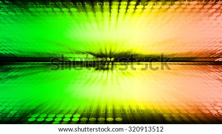 dark green yellow orange illustration of technology internet network computer background with binary number, style background. infographics. Information. motion blur. pixel. text box. motion move zoom - stock photo