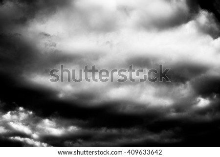 Dark grey black and white art texture cloudy sky background - stock photo