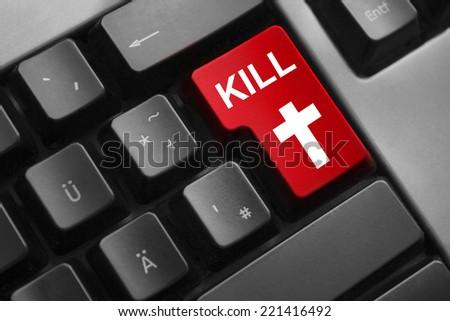 dark grey keyboard red enter button digital war kill cross - stock photo