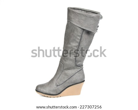 Dark Grey Long Boots. Profile View