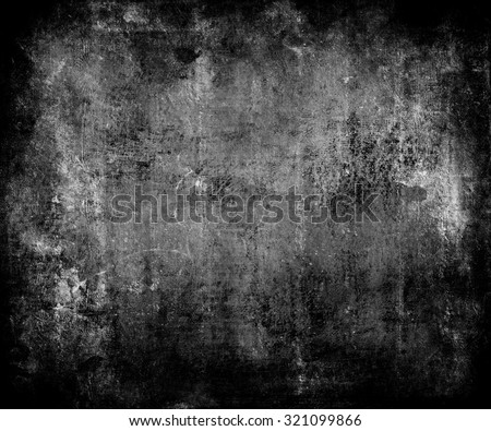 Dark Grunge Scratched Texture Background With Frame - stock photo