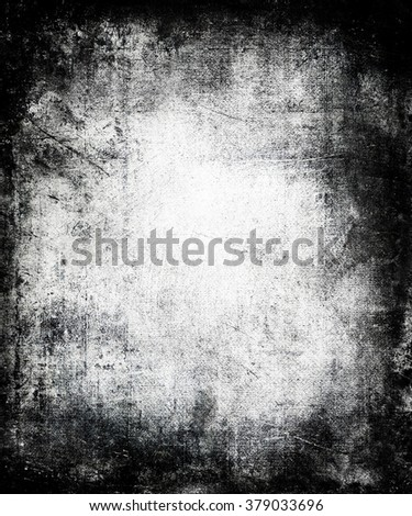 Dark Grunge Wall Texture, Scary Distressed Background With Faded Central Area For Your Text Or Picture - stock photo