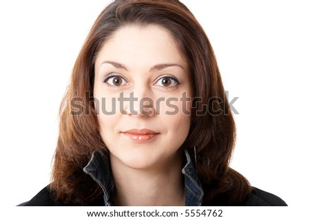 Dark-haired woman isolated at the white background