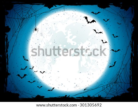 Dark Halloween background with Moon on blue sky, spiders and bats, illustration. - stock photo