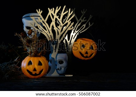 Dark halloween white cranium  and orange Pumpkin with dried flower and hide under bushes. Low key tone