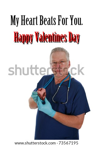 """Dark Humor """"Valentines Day"""" image featuring the good Doctor Ventricle isolated on white with room for your text - stock photo"""