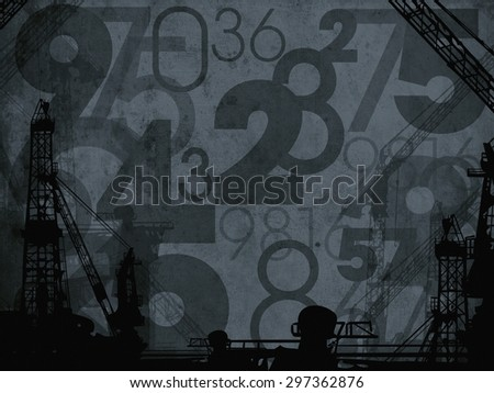 dark industrial numbers abstract background texture - stock photo