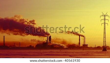 Dark industrial zone with - stock photo