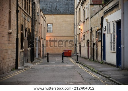 Dark Inner City Alleyway Background  - stock photo