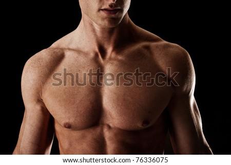 Dark Intense Muscular Male Bodybuilder - stock photo
