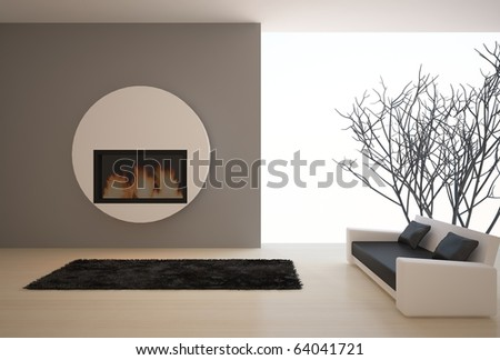 dark interior composition with fire - stock photo