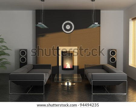 dark interior of the stylish apartment 3D rendering - stock photo
