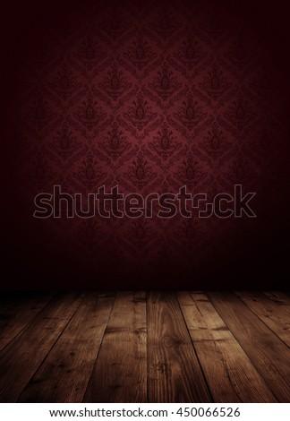dark interior room with baroque wallpaper. - stock photo