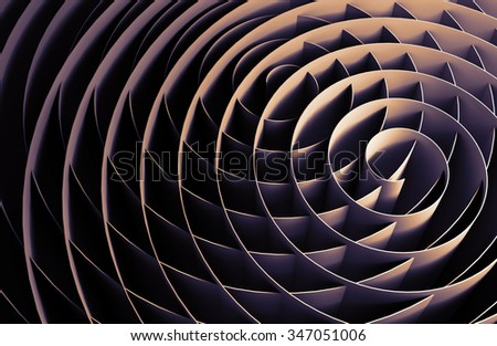 Dark intersected 3d spirals, abstract digital illustration, background pattern - stock photo