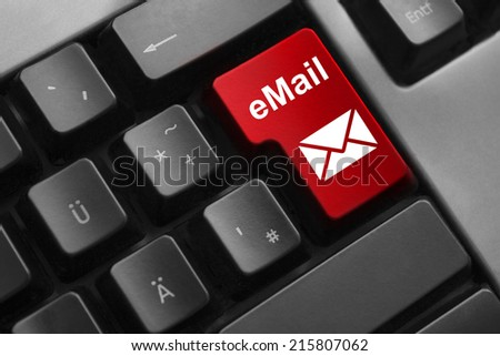 dark keyboard red button email secure - stock photo