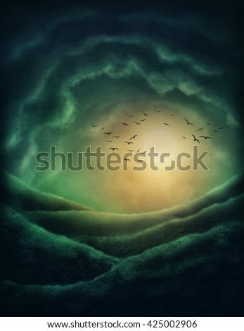 Dark landscape with clouds and moon - stock photo