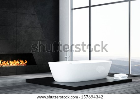 Dark luxury bathroom interior with bathtub and fireplace - stock photo