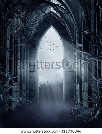 Dark meadow with a spooky gothic gate, trees, and cobwebs - stock photo